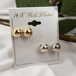 Silver & Gold Ball Post Studs NWT